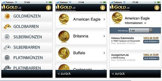 Den aktuellen Goldpreis im Blick mit kostenloser iPhone-App von Gold.de