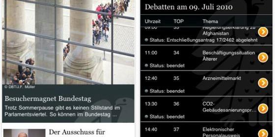 Mit der kostenlosen Bundestag-App für das iPhone und iPod Touch immer wissen was im Deutschen Parlament gerade passiert