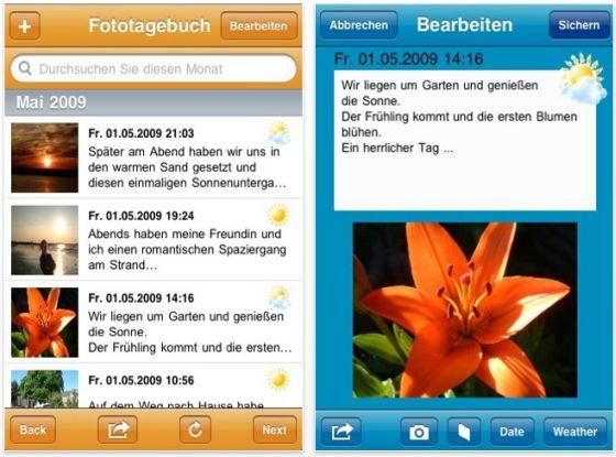 Halte Deine Erfolge fest mit dem Foto Tagebuch für Dein iPhone und iPod Touch