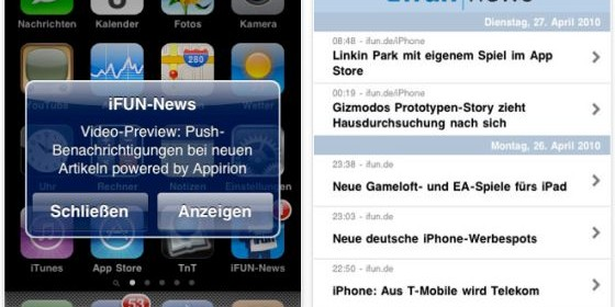 Am Puls der Zeit, wenn es um Neuigkeiten rund um das iPhone, iPod Touch und iPad geht, mit der kostenlosen Nachrichten-App ifun news