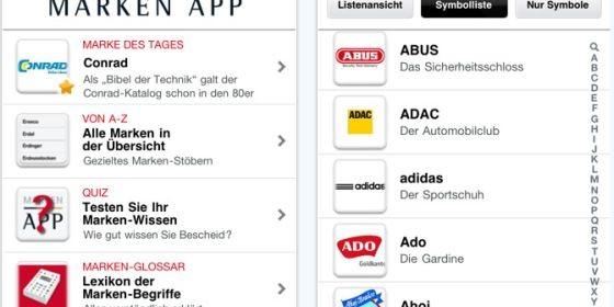Lerne mit der kostenlosen Marken-App für Dein iPhone alles wissenswerte über bekannte Marken wie Apple, Deutsche Bank oder adidas kennen