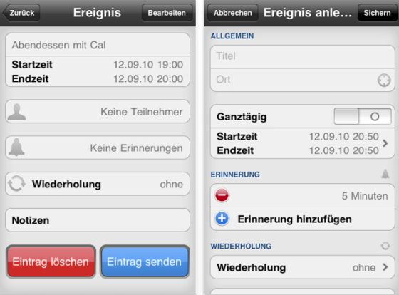 Screenshot der App miCal