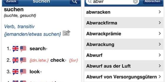 Sehr umfangreiches Wörterbuch Deutsch – Englisch für iPhone, iPod Touch und iPad heute kostenlos