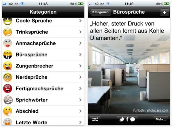 Coole Sprüche App für iPhone, iPod Touch und iPad Screenshot