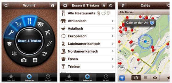 Deutsche App für lokale Suche auf dem iPhone mit Anzeigen im Livebild der Kamera