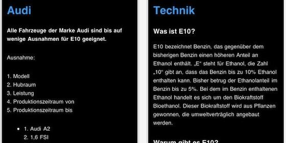 In Zukunft E10 tanken mit der App E10 Verträglichkeit für iPad und iPhone