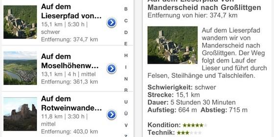 Wanderausflug in die Eifel planen mit dem ADAC Wanderführer für iPhone