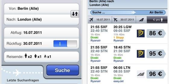 Billigflüge buchen mit der kostenlosen App Skyscanner für iPhone und iPod Touch