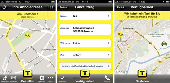 Screenshots der App Taxi Deutschland