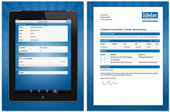 Servicebeleg für iPhone und iPad - weitere Screenshots