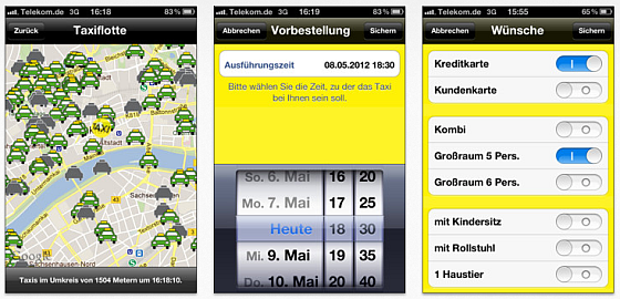 Screenshots Taxi-App Taxi Deutschland