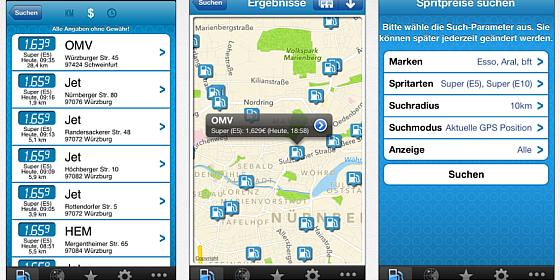 Gratis-App mehr-tanken findet die günstigste Tankstelle in der Umgebung
