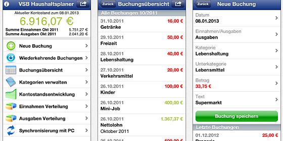 Kostenlose Haushaltsbuch-App für das iPhone