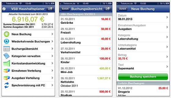 VSB Haushaltsplaner für iPhone Screenshots
