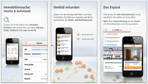 ImmoScout24 App für das iPhone Screenshots