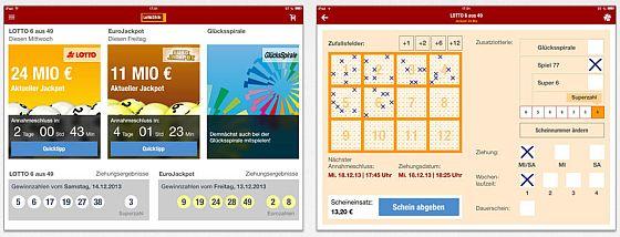 """Auch für iPad- und Tablet-Nutzer bietet die App ein optimiertes Layout. Sie informiert über Ziehungsergebnisse und die aktuelle der Jackpots. Der """"Lottoschein"""" ist leicht auszufüllen."""