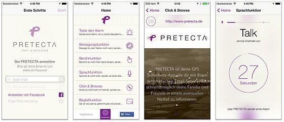 Mit Pretecta hast Du einen Begleiter bei Dir, der bei Gefahr Hilfe alarmieren kann - vorausgesetzt, Du richtest die App vor der ersten Benutzung richtig ein.