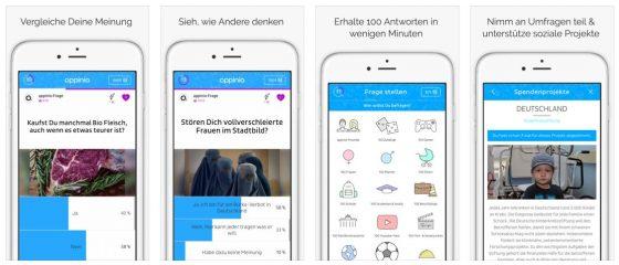 Gut gestaltet präsentiert sich Appinio als App mit Fragen von Nutzern, beauftragten Umfragen von Agenturen und Firmen sowie der Möglichkeit, eigene Fragen (kostenlos) und Umfragen (kostenpflichtig) zu erstellen.