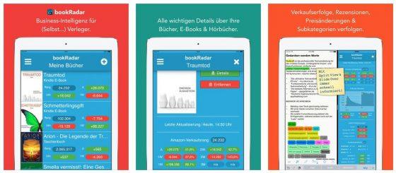 Mit bookradar haben Autoren und Verleger die Verkaufsstatistiken ihrer Buchprojekte nun auch mobil jederzeit abrufbar.